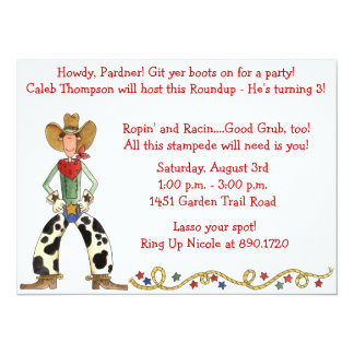 Western Cowboy Roundup Birthday Party Invitation