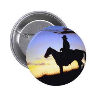 Western Cowboy Sunset Silhouette 6 Cm Round Badge