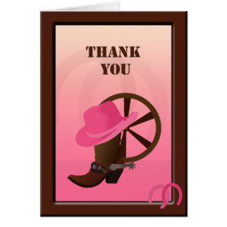Western Cowgirl Custom Thank You Note Card