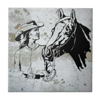 Western Cowgirl Horse Small Square Tile