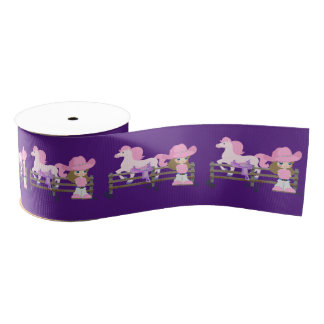 "Western Cowgirl Kid With Horse And Saddle 3 "" Grosgrain Ribbon"