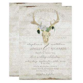 Western Desert Boho Bohemian Deer Antler Skull Art Card