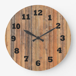Western Distressed Wooden Wall Large Clock