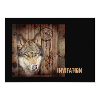 Western dream catcher  native american indian wolf card