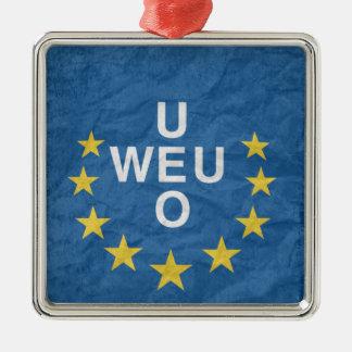 Western European Union Flag Silver-Colored Square Decoration