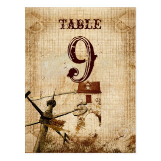 western farmhouse country Wedding table numbercard Postcards