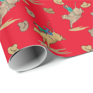 Western Gift Wrapping Bull Riders and Cowboy Hats Wrapping Paper