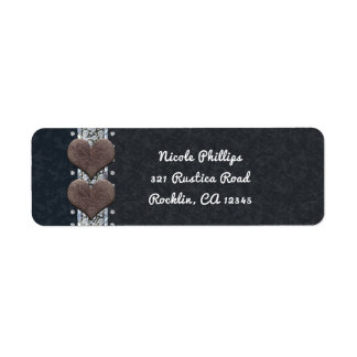 Western Glam Black Leather & Diamonds Invitation Return Address Label