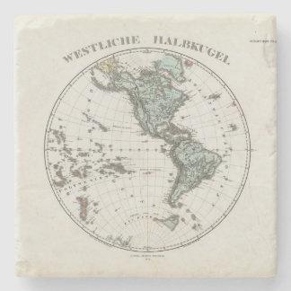 Western Hemisphere Atlas Map Stone Coaster