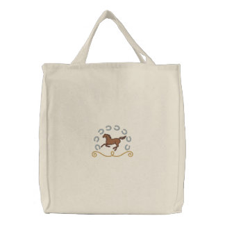 Western Horse Embroidered Tote Bag