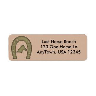 Western Horse Shoe Design Return Address Label