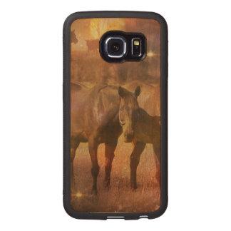 Western Horses Grazing Wood Phone Case