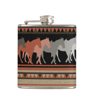Western Horses Silhouettes Hip Flask