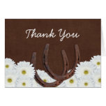 Western Horseshoes and Daisies Thank You Note Card