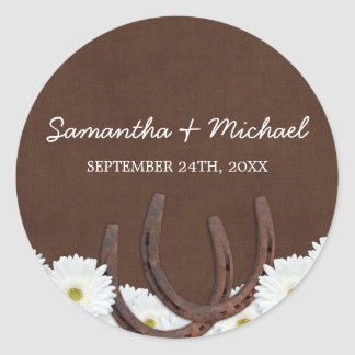 Western Horseshoes and Daisies Wedding Favor Label