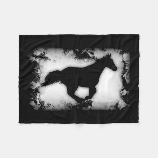 Western-look Galloping Horse Silhouette Fleece Blanket