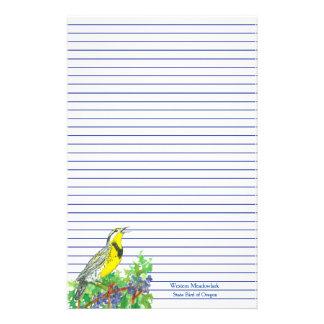 Western Meadowlark Oregon State Bird Blue Lined Stationery