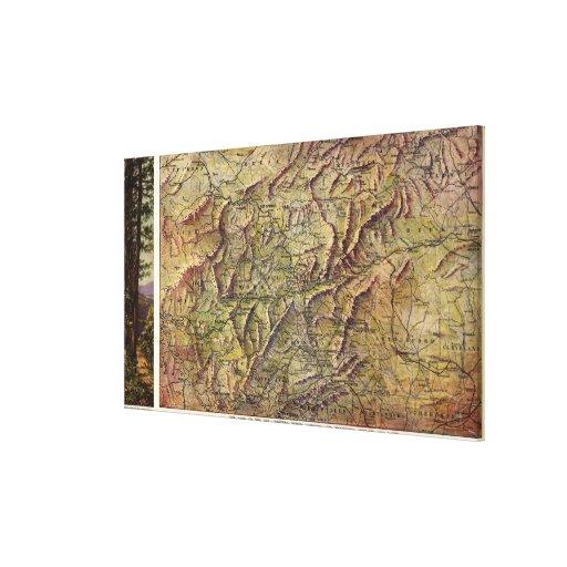 Western North CarolinaPanoramic Map Canvas Prints