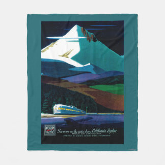 Western Pacific California Zephyr Vintage Poster Fleece Blanket