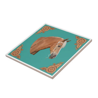 Western Palomino Horse With Leather Corners Ceramic Tile