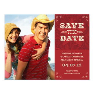 Western Photo Save the date card 11 Cm X 14 Cm Invitation Card