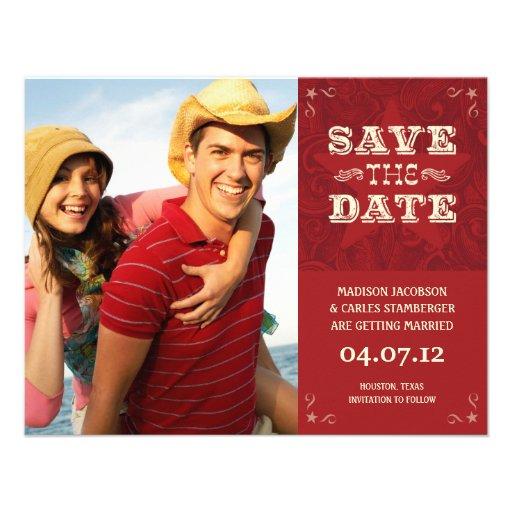 Western Photo Save the date card Custom Invites