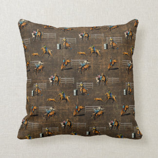 Western Pillow With Rodeo Events Design on Brown