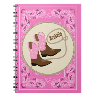 Western Pink Cowgir Boots Red Bandana Personalized Notebooks