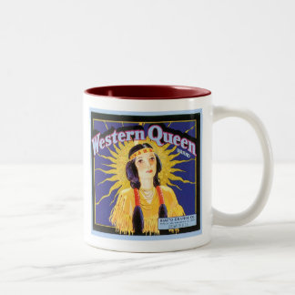 Western Queen Vintage Crate Label Two-Tone Mug