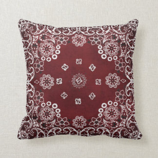 Western Red Bandana Throw Pillows