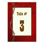 Western Red Leather Wedding Reception Table Number 11 Cm X 16 Cm Invitation Card