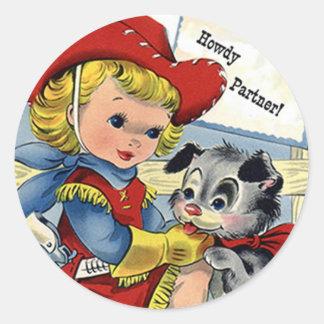 Western Retro Lil' Cowgirl Puppy Dog Fun Stickers