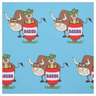 Western Rodeo Clown in Barrel And Bull Large Print Fabric