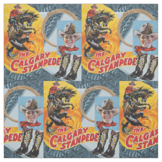 Western Rodeo Cowboy Collage Print Fabric