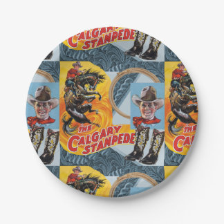Western Rodeo Cowboy Collage Print Paper Plates