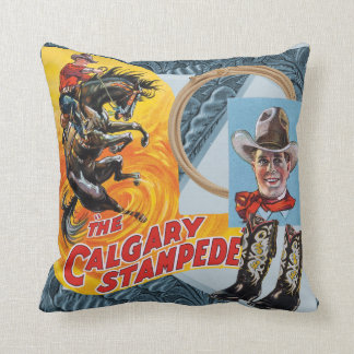 Western Rodeo Cowboy Collage Print Throw Pilow Cushion