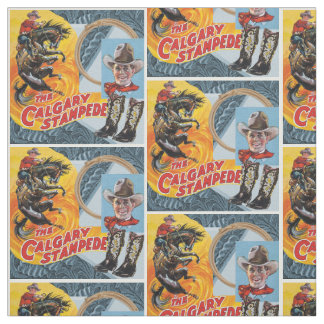 Western Rodeo Cowboy Collage Print With Border Fabric