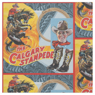 Western Rodeo Cowboy Collage Print With Red Border Fabric