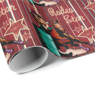 Western Rodeo Cowgirl Barrel Racing Rodeo Star Wrapping Paper