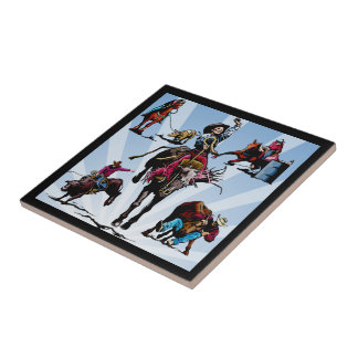 Western Rodeo Events Cowboys Cowgirls Ceramic Tile