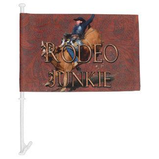 Western Rodeo Junkie Bucking Rodeo Bull Car Flag