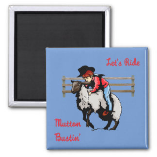 Western Rodeo Mutton Bustin' Square Magnet