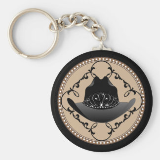 Western Rodeo Queen Cowgirl Key Ring