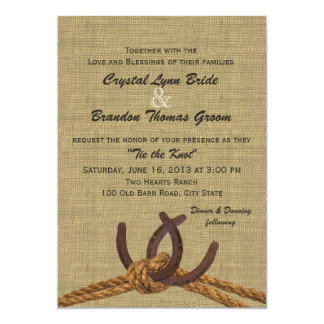 Western Rope and Horseshoes Wedding 13 Cm X 18 Cm Invitation Card