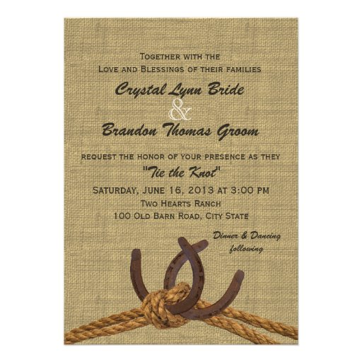 Western Rope and Horseshoes Wedding Personalized Announcement