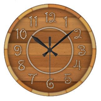 Western Rope Time Wood Beer Barrel Wall Clock