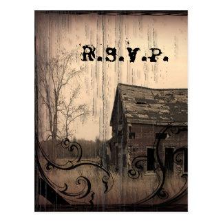 Western Rustic farm barn Country Wedding RSVP Postcard
