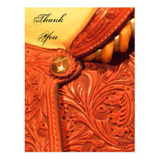 Western Saddle Country Thank You Postcard