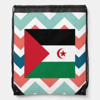 Western Sahara Flag Box on Colorful Chevron Drawstring Backpacks