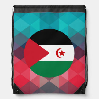 Western Sahara flag circle on modern bokeh Drawstring Backpack